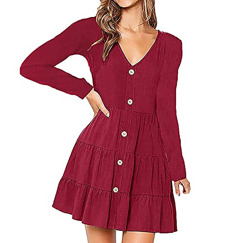Casual Long Sleeve Midi Dresses For Women Casual Single-breasted V Neck Solid Color Short Dress Office Slim Fall Dress Wine