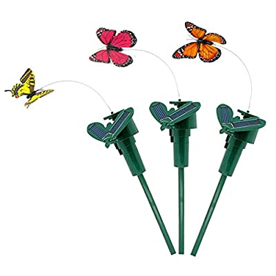Vnfire 3 Pcs Solar/Battery Powered Flying Wobble Fluttering Butterfly Yard Garden Plants Flowers Stake Ornament Decor