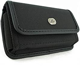 Black Rugged Canvas Side Case Cover Protective Pouch Belt Clip Compatible with T-Mobile Samsung Galaxy S7 Edge (SM-G935T) - T-Mobile Samsung Galaxy S8 Active - T-Mobile ZTE Avid Trio