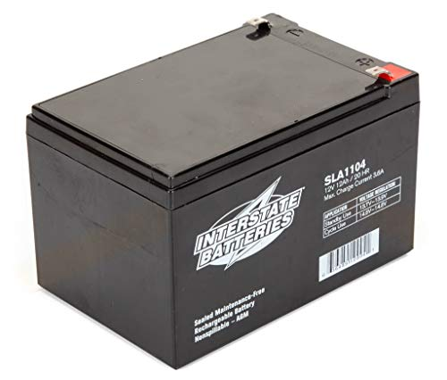Interstate Batteries 12V 12AH Sealed Lead Acid (SLA) Battery (AGM) - .250 Faston Spade Terminals (SLA1104)