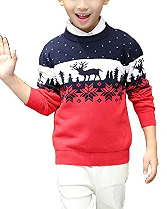 Shengwan Suéter Navidad Niños Sudadera Invierno Jerseys de Punto Traje de Navidad Pullover Rojo 140