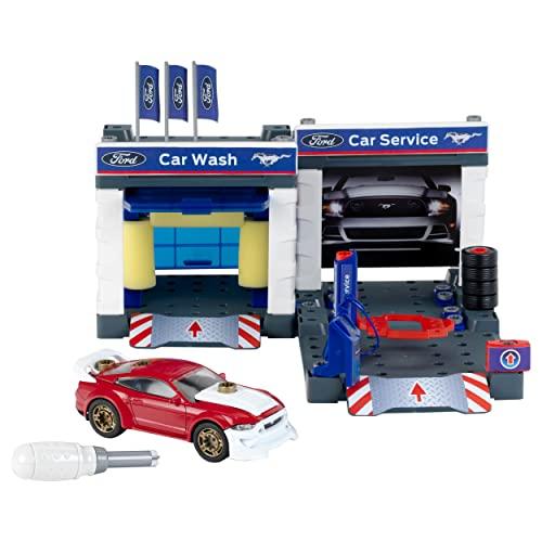 Theo Klein 3313 stacja paliw z modelem Forda Mustanga 2019 I garaż i samochód można zdemontować I warsztat do zabawy wraz z podnośnikiem i myjnią samochodową I wymiary: 41 cm x 39 cm x 29 cm