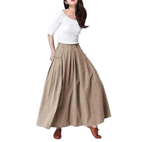 Saia Abetteric feminina drapeada longa elástica casual bolso cor sólida, Caqui, US X-Small=China Small
