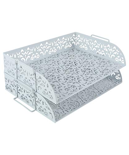 EasyPAG Desk Organizers and Accessories Stackable Paper Tray -2 Tier Stackable Letter TraysWhite