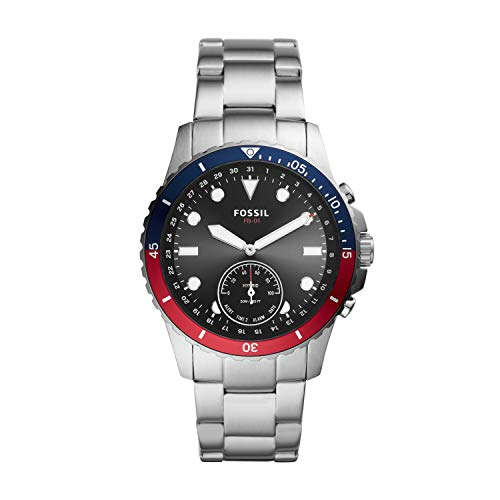 Fossil Men's FB-01 Stainless Steel Hybrid Smartwatch, Color: Silver/Multi Dial (Model: FTW1300)