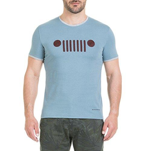 Jeep avec Barbecue Velours stieckerei T Shirt S Avio Light Blue