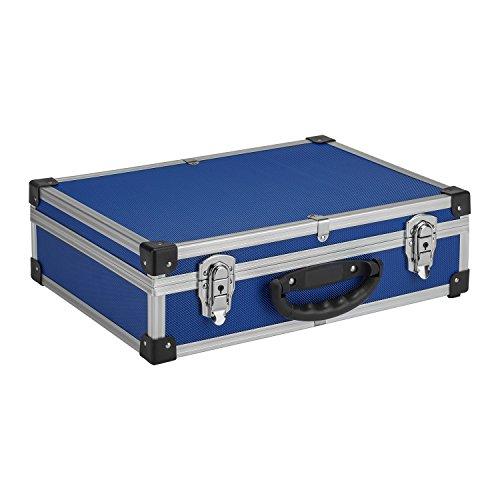 Werkzeugkoffer Werkzeugkiste 42,5x30,5x12,5 cm + Schlüssel - Blau Aluminium
