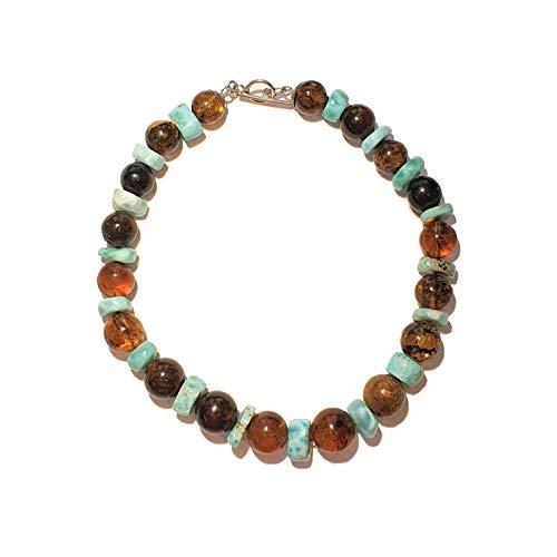 Collar Venus Perlas Ambre/Larimar en bruto plata 925