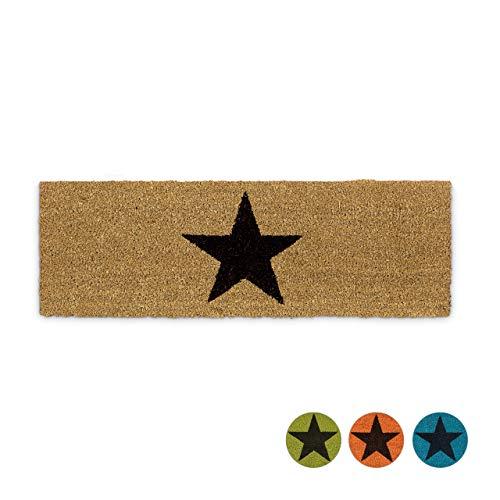 Relaxdays Felpudo Estrella para la Entrada del hogar, 1.5 x 75 x 25 cm, Fibra de Coco y PVC, Antideslizante, Color Natural, 1,5 x 75 x 25 cm