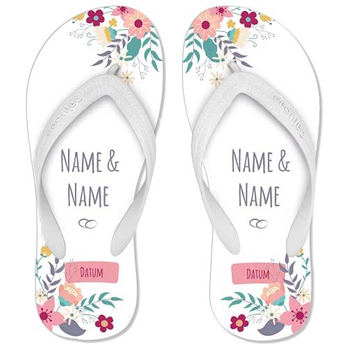 Just Married-Flip Flops personalisiert mit Namen & Datum – Gratis Schuhbeutel inkl.   perfekt als Hochzeitsdeko