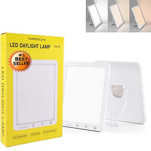 HuMediCare Tageslichtlampe, Lichttherapielampe, UV-freie 10000 Lux Sonnenlampe mit 6 Timer Einstellungen, 5 Stufen Dimmen, 3 Farben Temperaturanzug, mit variablem Standfuß (Design Weiß)