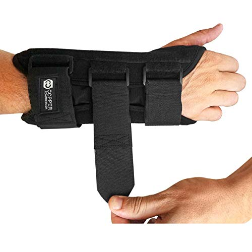 Copper Compression Carpal Tunnel Night Time Wrist Brace - Guaranteed Highest Copper Content Wrist Support Braces. Comfortable Sleep for Wrists and Hands Relief. Adjustable Support Splint. (Right Hand)