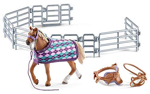 3in1-SET Schleich Pferde Horse Club - Englisch Vollblut mit Decke + Sattel und Weidezaun 42360 + 42165 + 42487