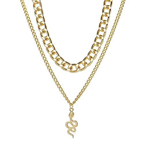 Collar colgante de cadena de serpiente a la moda para mujer, Gargantilla dorada, accesorios de fiesta, joyería Punk minimalista