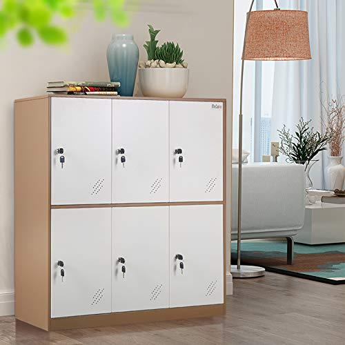 Oficina de metal y gabinete de casilleros para el hogar con almacenamiento de 6 puertas para zapatos de tela o bolsos, gabinete de armarios de dos componentes de 3 capas