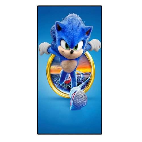 WMZ-LSC Sonic The Hedgehog - Toalla de playa para niños, 100 % algodón, absorción suave de agua, duradera, multicolor, 6,75 x 150 cm