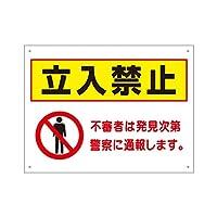 注意看板 立入禁止 H450×W600mm 白 アルミ複合板 取付け用穴あり 駐車場 to-32
