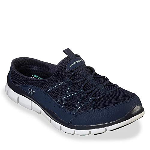 Skechers Gratis Real Story Womens Slip On Sneaker Clogs Navy 8.5