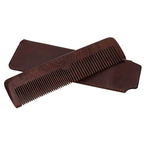 Qkiss - Pettine da parrucchiere in legno di alta qualità, portatile, strumento di pettinatura a doppio uso, per capelli e barba, design a doppia facciata, perfetto (borsa portaoggetti marrone e rosso)