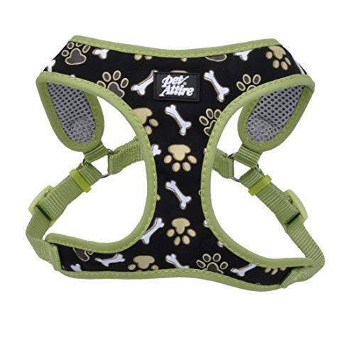 Coastal - Ribbon - Designer Wrap Adjustable Dog Harness, Brown Paws and Bones, 5/8