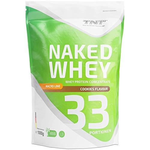 TNT Naked Whey + Laktase – 1kg Whey Protein Konzentrat – Eiweißpulver mit toller Löslichkeit & Geschmack – Proteinpulver (Cookies)