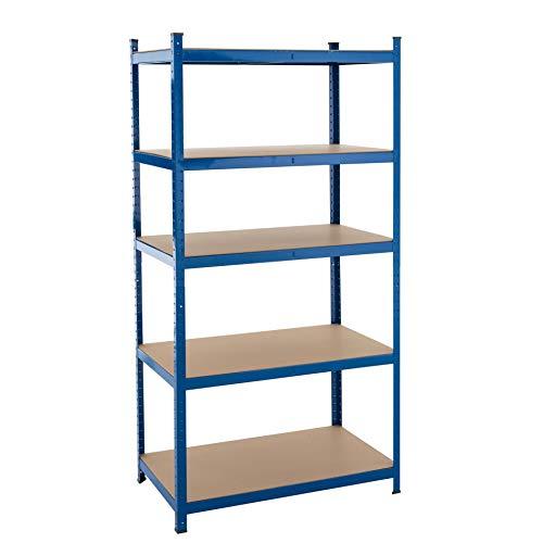Steckregal Lagerregal Kellerregal Regal Werkstattregal, Größen und Farben wählbar, verzinkt oder blau beschichtet Blau 200x100x60cm | 875kg