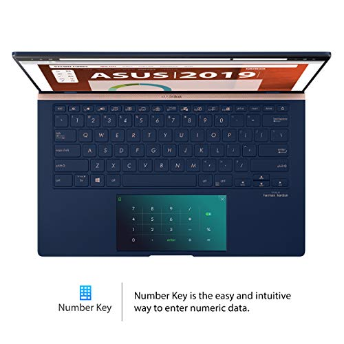 "Asus ZenBook 14 Ultra-Slim Laptop 14"" Full HD NanoEdge Bezel, Intel Core i7-10510U, 16GB RAM, 512GB PCIe SSD, GeForce MX250, Innovative Screenpad 2.0, Windows 10 Pro, UX434FLC-XH77, Royal Blue"