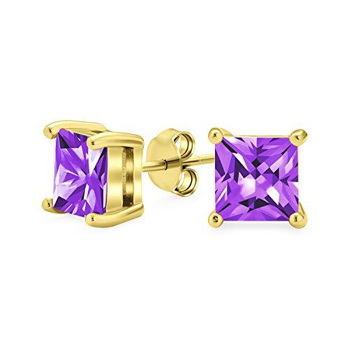 1CT púrpura cuadrado AAA CZ princesa corte pendientes de pernos cúbica Zirconia simulada amatista 14K oro chapado plata de ley