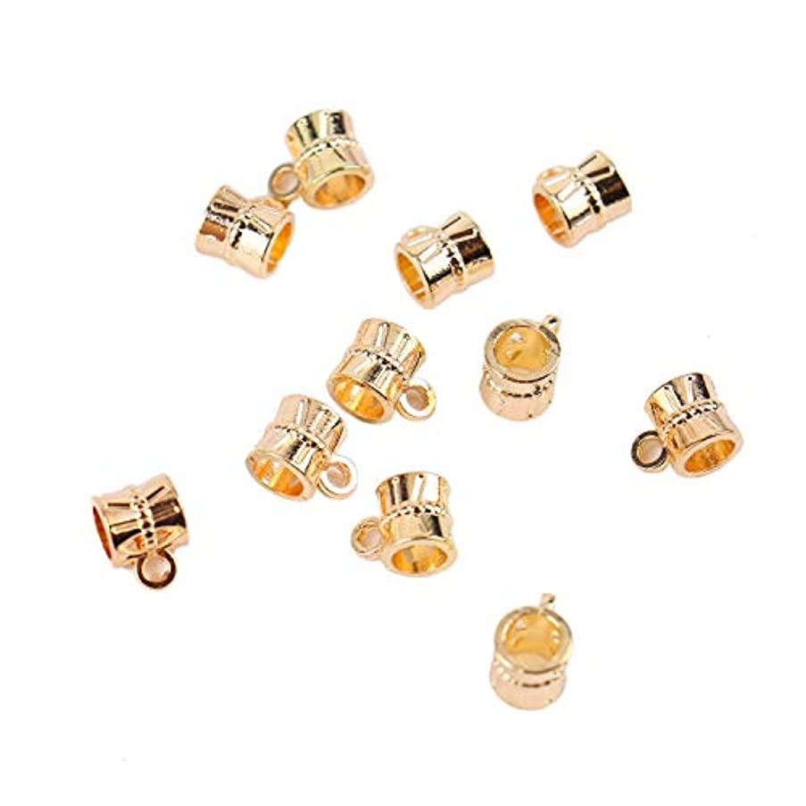 Monrocco 100 Pcs Gold Bail Beads Hangers Spacer Bead Connector Pendant Clasp Bail Charm Beads for Bracelets Necklace Jewelry Making