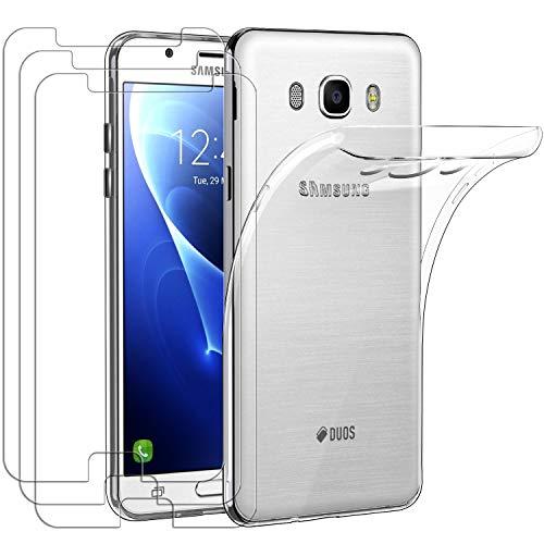 ivoler Funda para Samsung Galaxy J7 2016, con 3 Unidades Cristal Templado, Transparente Suave TPU Silicona Carcasa Protectora Anti-Choque Caso Delgada Anti-arañazos Case