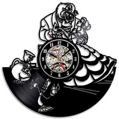 Mdsfe Reloj de Pared de Vinilo Vintage Diseño Moderno Pegatinas 3D de Dibujos Animados La Bella y la Bestia Relojes Colgantes Reloj de Pared Decoración para el hogar Silencioso 12'- 9
