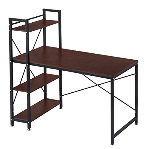 (OSJ)収納ラック付デスク(幅120) 机 パソコンデスク オフィスデスク テーブル 木製天板(ダークブラウン) 角丸加工 安全安心保証