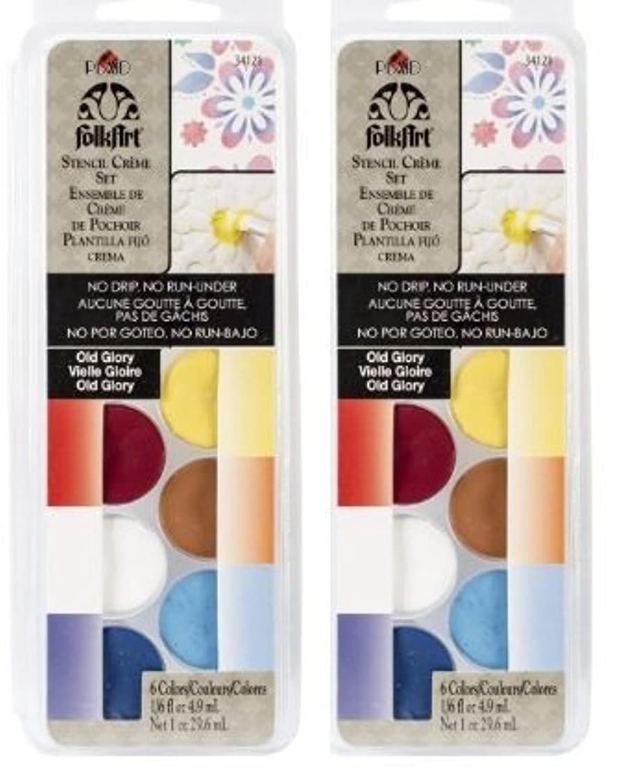 Plaid:Craft FolkArt Stencil Cream Paint Set, Old Glory, Two 6 Packs
