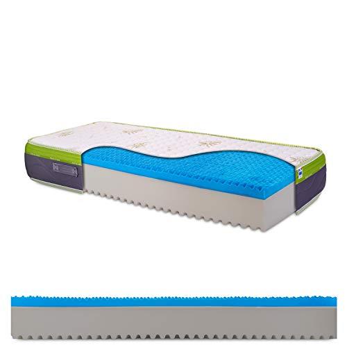 Materasso singolo in memory gel breeze bugnato, tessuto aloe vera, non sfoderabile, traspirante, antiacaro, alto 25cm, 100% Made in Italy - mod. Top25-90 x 200 cm (singolo)
