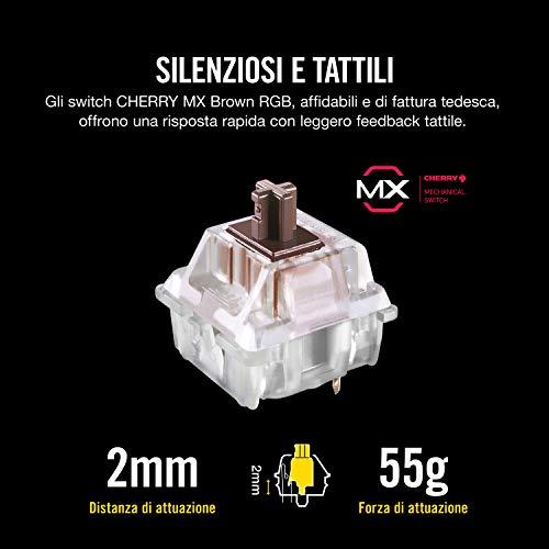 Corsair K70 RGB MK.2 Tastiera Meccanica Gaming Cherry MX Brown, Tattile e Silenzioso, Retroilluminato RGB LED, Italiano, QWERTY, Nero