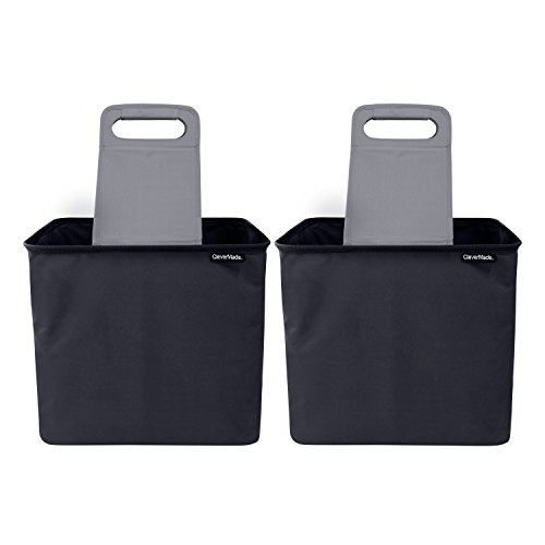 CleverMade 35L SnapBasket TrunkCaddy Collapsible Car Trunk Organizer & Storage Tote with Handles, Charcoal/Teal, 2-Pack