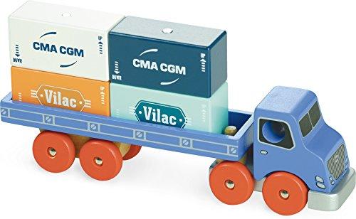 Vilac–2358–LKW–Holzspielzeug mit, Magnet-Schraubenhalter