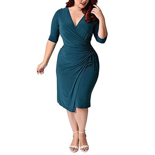 LMH-Jxlsnvp Damen Kleid Freizeitkleider Für Damen Einfarbiges Bandagenkleid Mit Großen Ärmeln, Unregelmäßig Plissiert, 3XL, Seeblau