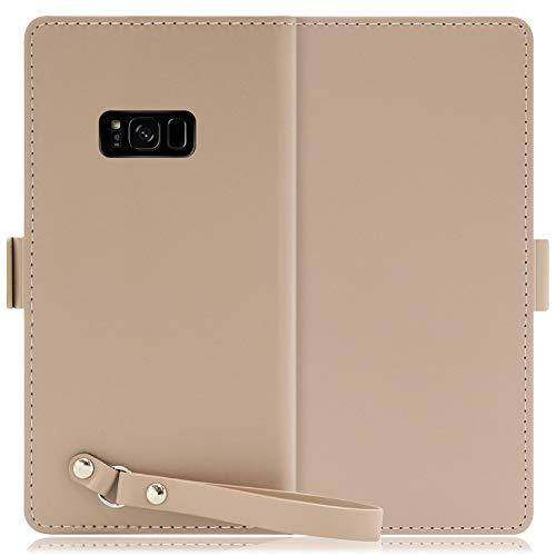 LOOF Macaron Series Galaxy S8 / SC-02J / SCV36 ケース カバー 手帳型ケース 本革 ベルト付き 落下防止 大容量カード収納 スマホケース スタンド機能 背面ベルト [モンブランキャメル]