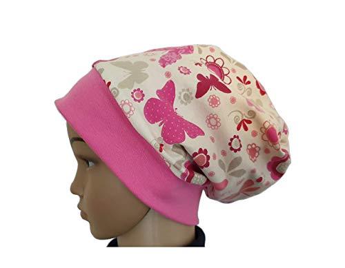 Fleece Mütze Beanie - Schmetterlinge und Blumen, Kinder Mädchen rosa, pink