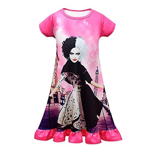 EUSEVEN Cruella - Pijama para niñas, camisón corto con cruela, disfraz de Cruella de Vil, rosa (b), 140 cm