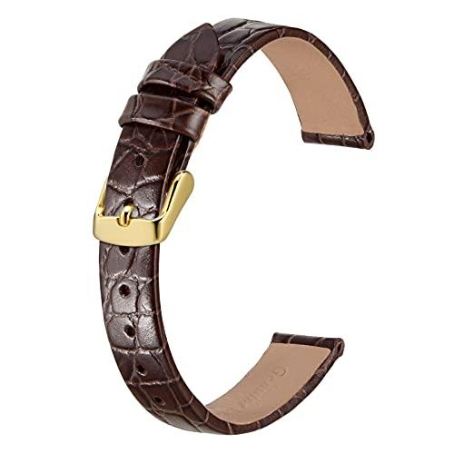 BISONSTRAP Correas de Cuero para Reloj, Correas de Repuesto Suaves con Hebilla Pulida, 10mm 12mm 14mm 16mm 18mm 19mm 20mm