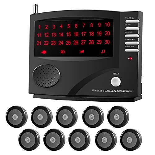 SYNLETT Wireless Calling System Nurse Call System, Caregiver Pager for Clinic, Nursing Home, 11 Languages 3 Alert Tones, 10 Call Buttons and 1 Monitoring Unit for Patients Seniors, Black