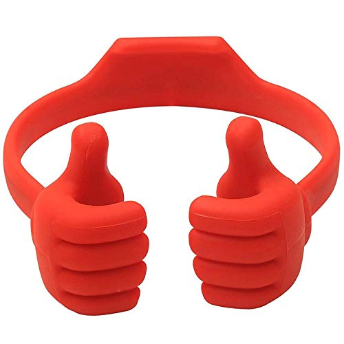 KJDS Soporte universal para teléfono móvil, flexible, para escritorio, soporte de mesa, soporte para pulgar portátil, color rojo