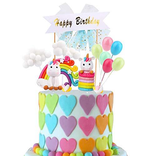 Eyscoco Tortendeko Geburtstag, Tortendeko Einhorn Kuchendeko Regenbogen Happy Birthday Girlande Luftballon Wolke Kuchen Topper für Kinder Mädchen Junge