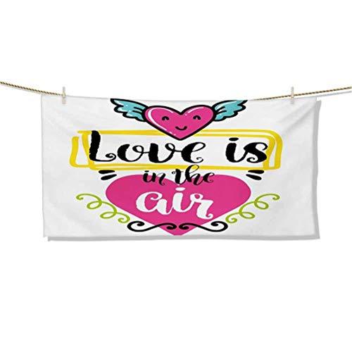 Toallas de Playa ing Love is in The Air Frase Interior con Forma de corazón con alas Estilo Retro Vestido de San Valentín Toalla de Playa Grande con borlas Toalla de Ducha