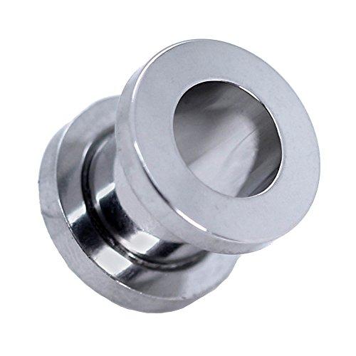 Expansor Túnel Flesh Tunnel Plug Piercing Dilatación Oreja Acero Set o Pieza 1.6-10mm Color Plata, Farbe2:plata - 5mm