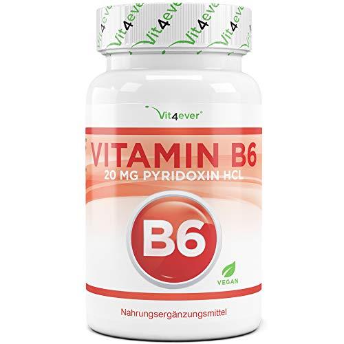 Vitamin B6-365 Tabletten mit je 20 mg - 1 Jahresvorrat - Laborgeprüft (Wirkstoffgehalt & Reinheit) - Ohne unerwünschte Zusätze - Pyridoxinhydrochlorid - Hochdosiert - Vegan