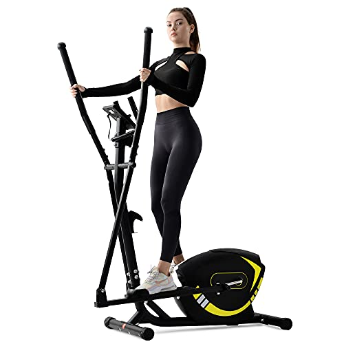 Bicicleta elíptica para uso doméstico con asas de frecuencia de pulso, sistema de freno magnético, 8 niveles de resistencia, hasta 120 kg (amarillo)