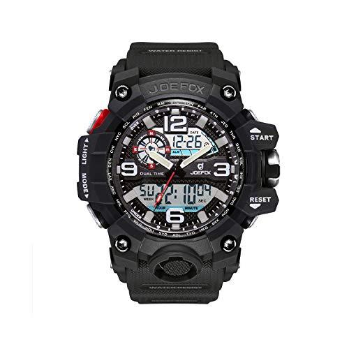 Herren Digitale Armbanduhr, Military Sport Analog-Digital Chronograph Uhren für Männer, Big, 56 mm Wasserdicht LED Harz Gurt Armbanduhr